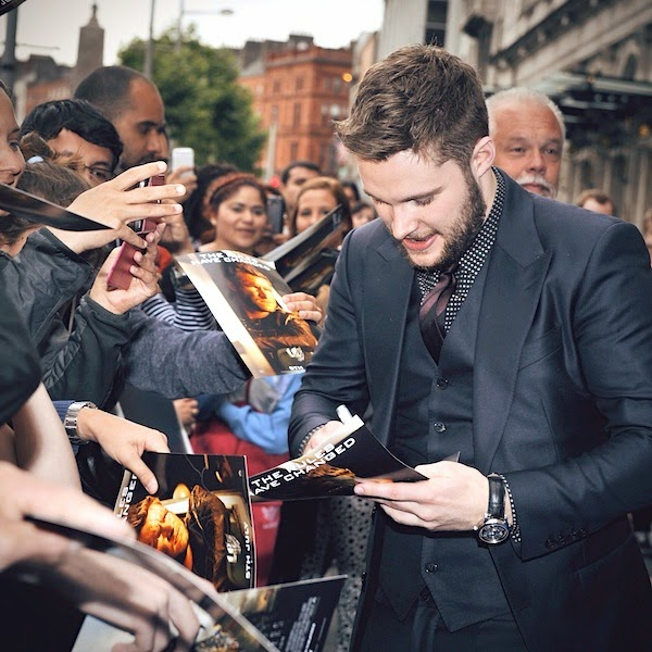 Jack Reynor MONTBLANC Nicolas Rieussec chronograph watch at Irish Premiere of Transformers 4 Age of Extinction July 2014