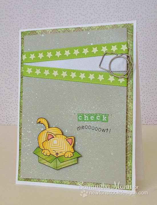 cat in box card by Samantha Mann for Newton's Nook Designs Inky Paws Challenge 7