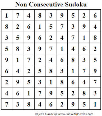 Non Consecutive Sudoku (Daily Sudoku League #124) Solution