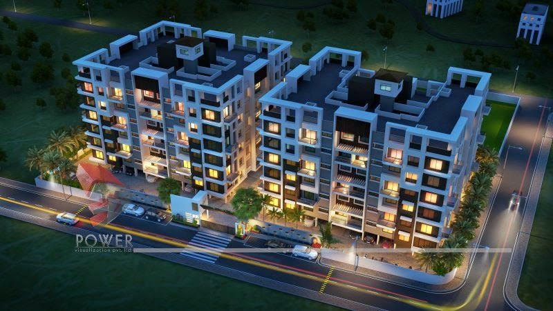 3D Night View Of Apartment In Township