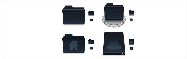 黒好きにはたまらないクールな素材 | ゴミ箱・ドライブ・フォルダなどデスクトップアイコン色々
