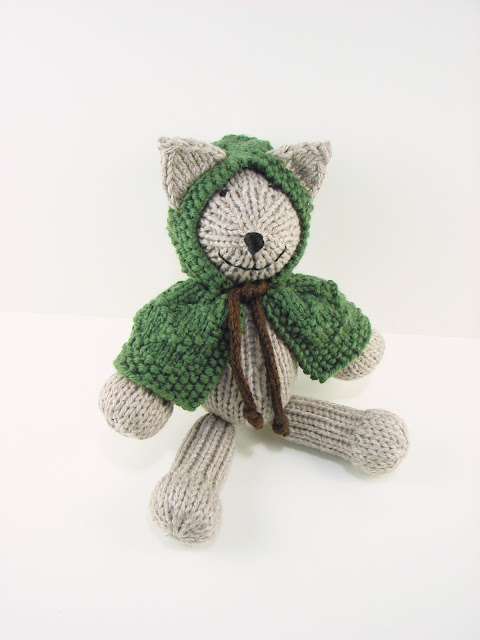 little, robin, hood, kitty, toy, cat, stuffed, animal, knitted, gray, green