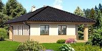 Дом с облицовкой фасада кирпичом до уровня окон