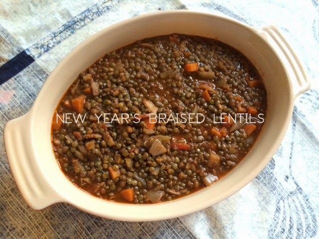 New Year's Eve Italian braised lentils with bacon and onion detail