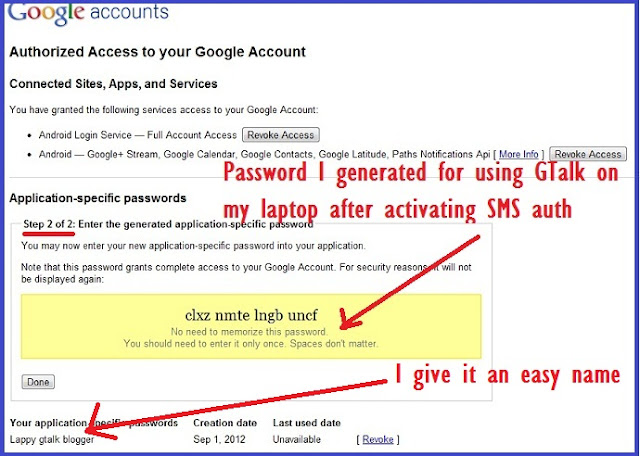 Google application specific password