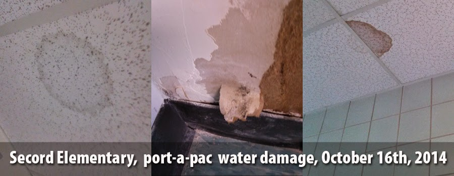 Secord Elementary, port-a-pac water damage, October 16th, 2014