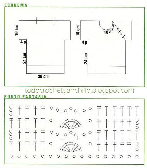 Molde y patrón de punto fantasía de remera para niño al crochet