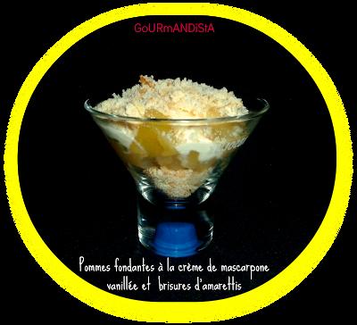 IMage Verrine de pommes fondantes à la crème de mascarpone vanillée et brisures d'amarettis