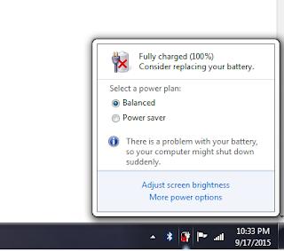 Notifikasi Consider Replacing Your Battery pada Tanda Silang Baterai