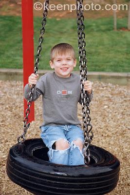 swinging on a tire swing