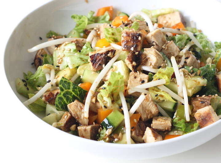 Chinese Honey BBQ Chicken Salad recipe by SeasonWithSpice.com