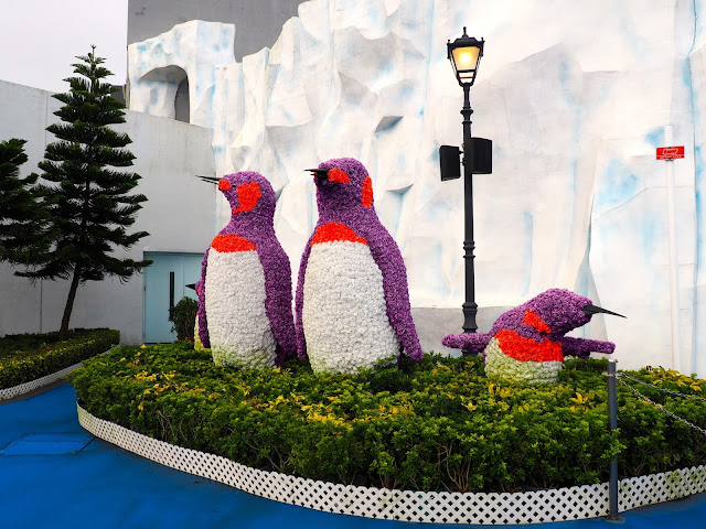 Floral penguin display in Polar Adventure area of Ocean Park, Hong Kong