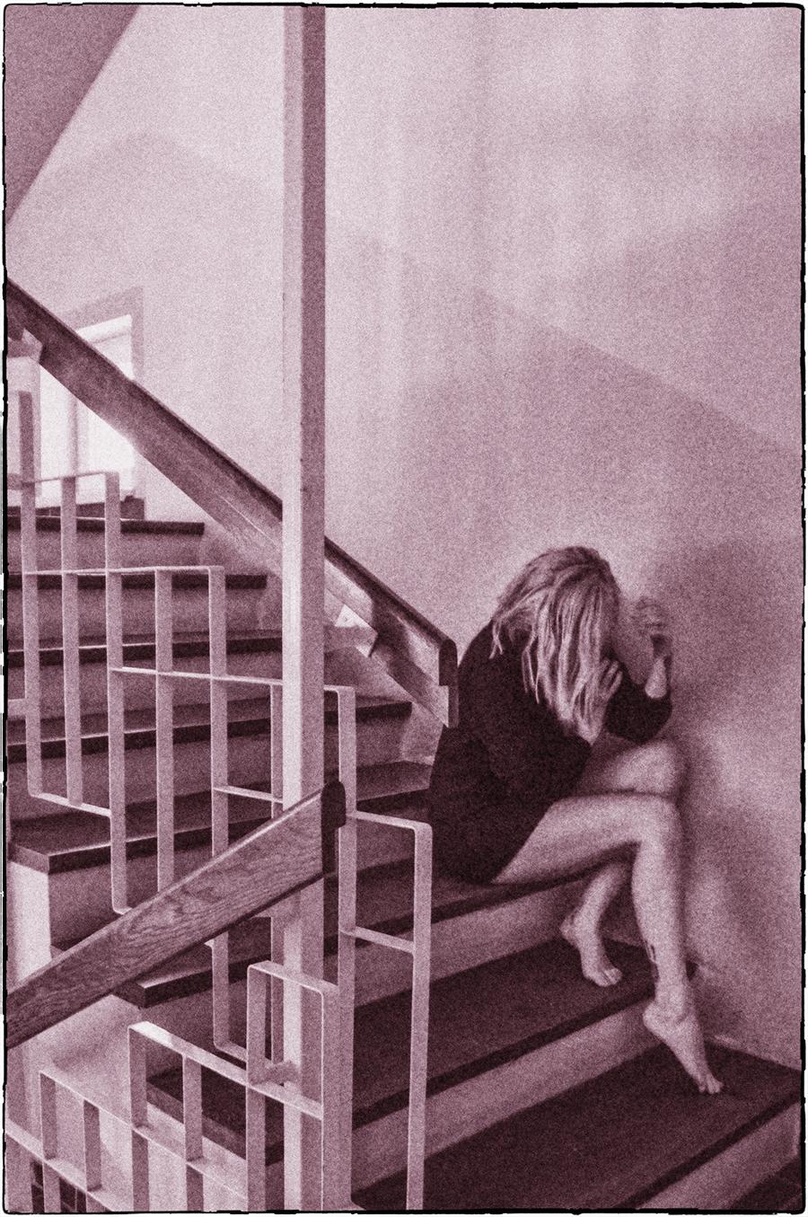 For Peet's Sake blgo girl sitting on stairs black knit sweater