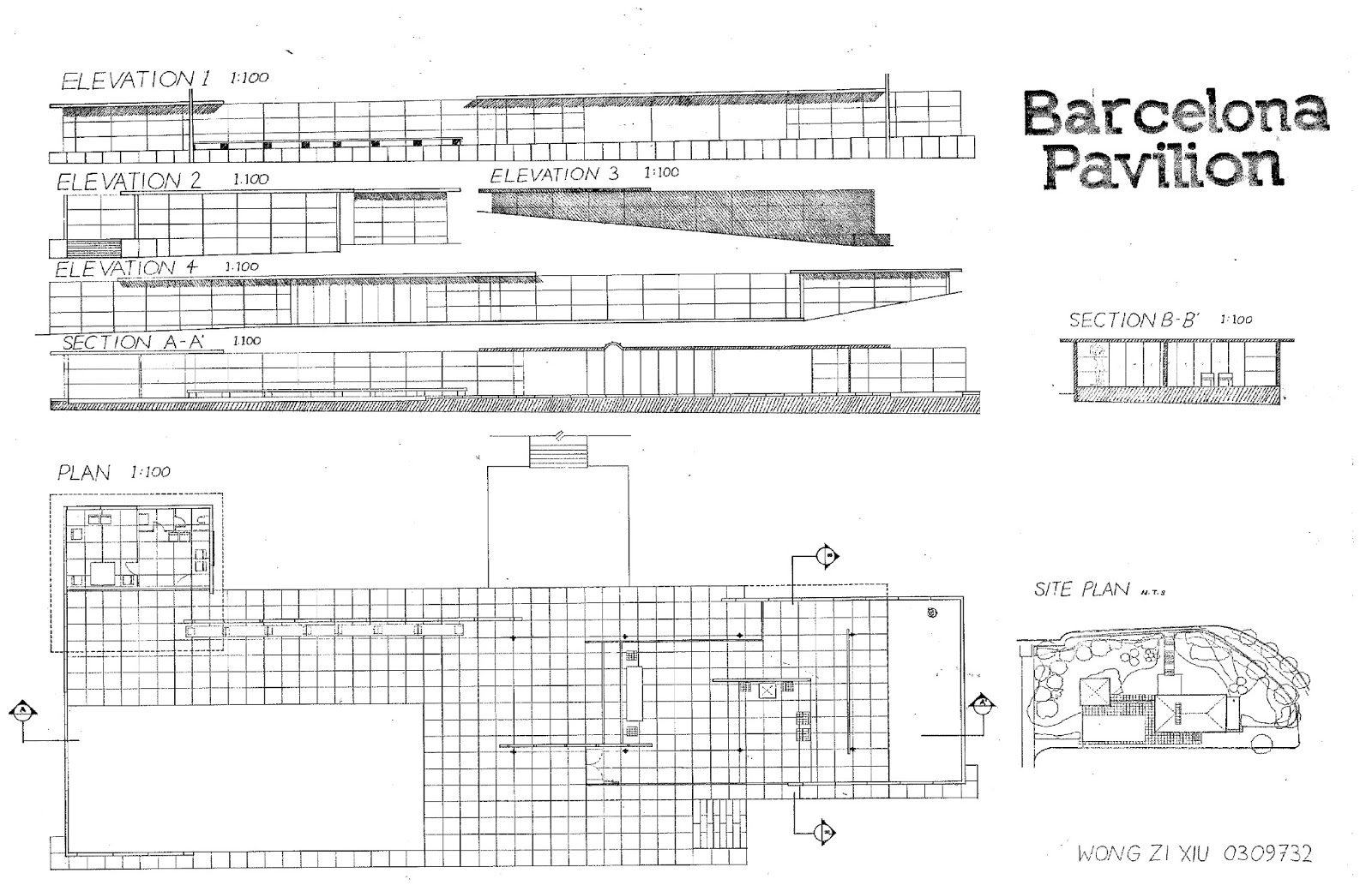 Barcelona pavilion section drawing - Orthographic Drawings Of Barcelona Pavilion