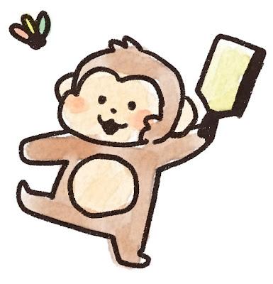 羽根つきをする猿のイラスト(申年)