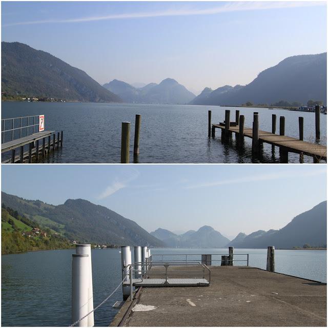 Ferry terminal at Alpnachstad station of Mount Pilatus along Lake Lucerne in Lucerne, Switzerland