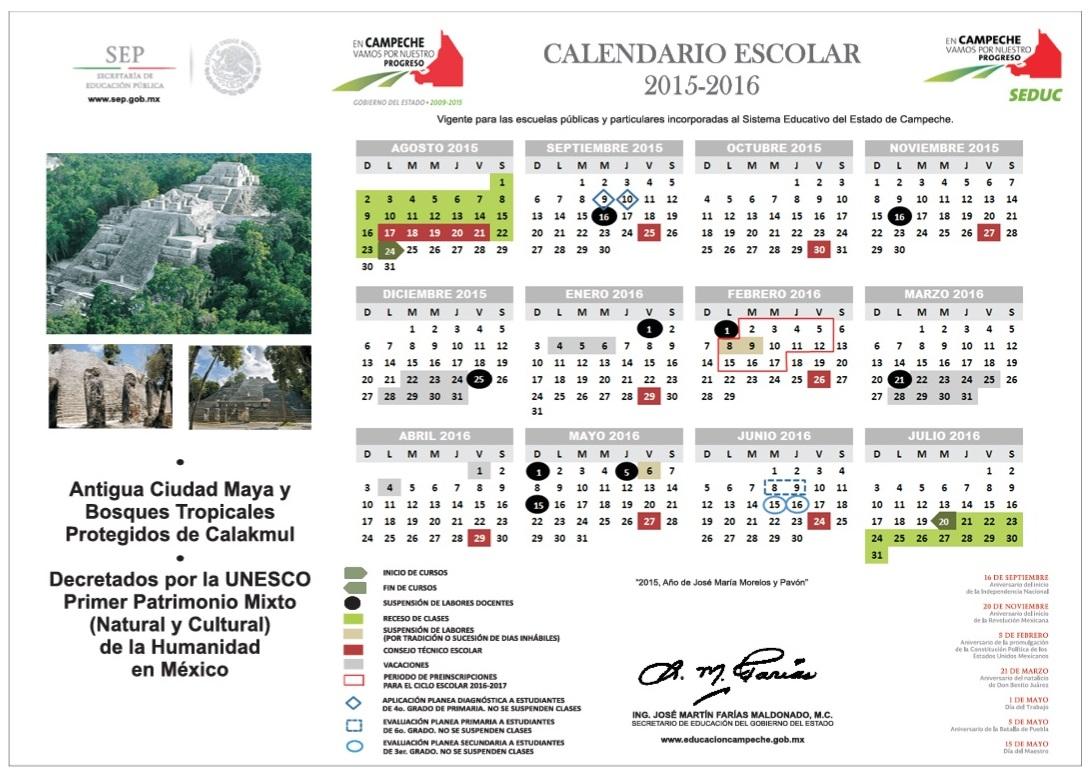 CALENDARIO ESCOLAR ESTATAL 2015-2016