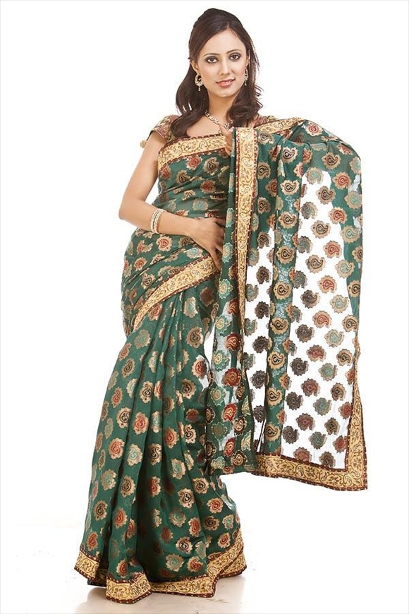 Tropical Green Chanderi Banarasi Saree