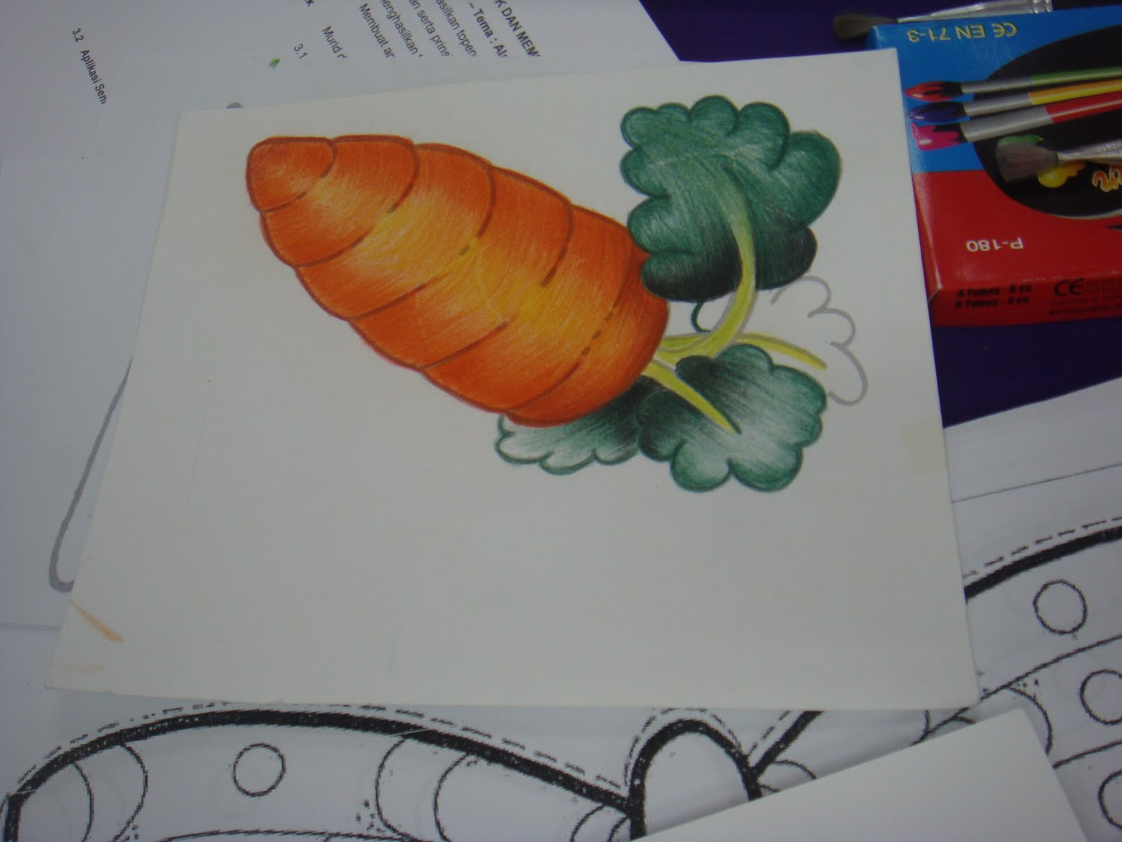 Lukisan pensel warna dan kemudiannya disapu air menjadikan ianya catan