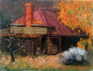 Oil painting of a Victorian-era weatherboard cottage beside a large oak tree in autumn leaf.