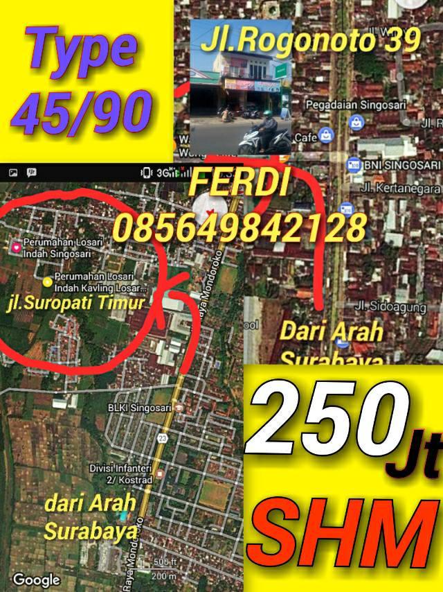 Perumahan Losari Indah  Losari Singosari Malang        Rumah siap bangun Dijual Type 36