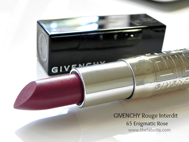 givenchy rouge interdit lipstick, swatch, review enigmatic rosewood