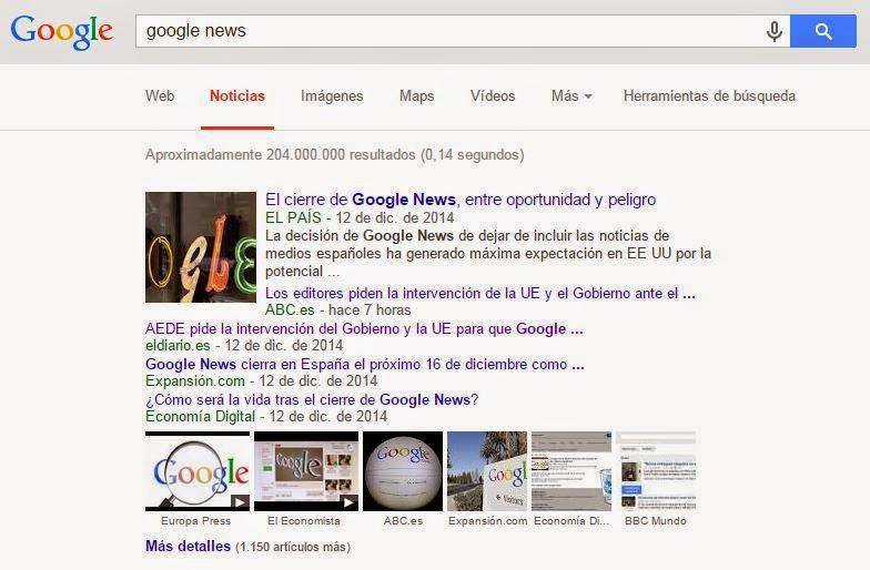 El canon AEDE de la Ley de Propiedad Intelectual ha provocado la decisión del gigante Google