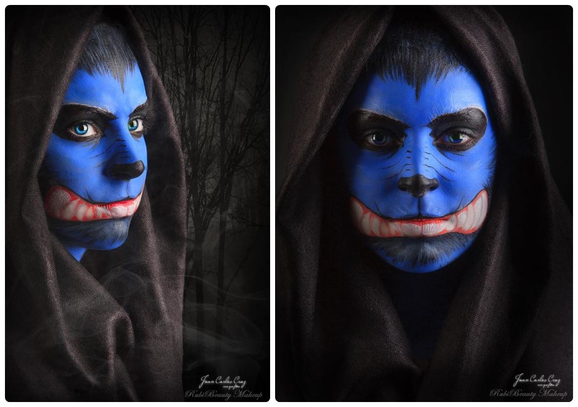 rubibeauty facepaint maquillaje fantasia lobo azul wolf