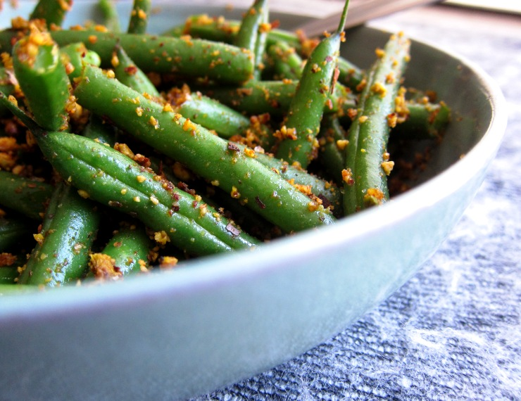 my very own green beans with smoky pistachio dust!