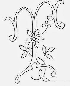T flower calligraphy monogram tattoo stencils