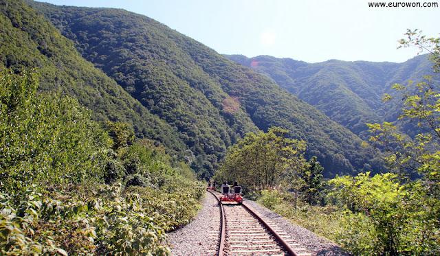 Bicirrailes por las montañas coreanas