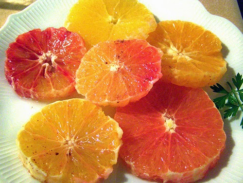 Assorted Oranges and Tangerines in Salad