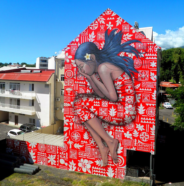 After traveling through China, Seth Globepainter is now in Tahiti where he teamed up with local artist HTJ to work on a new collaboration.