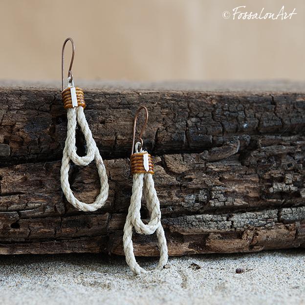 Orecchini in corda, gommalacca e frammenti di conchiglie