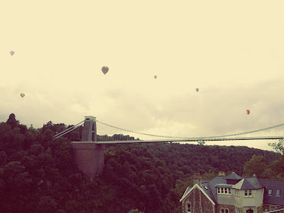 View over to Clifton Suspension Bridge, at Bristol Balloon Fiesta