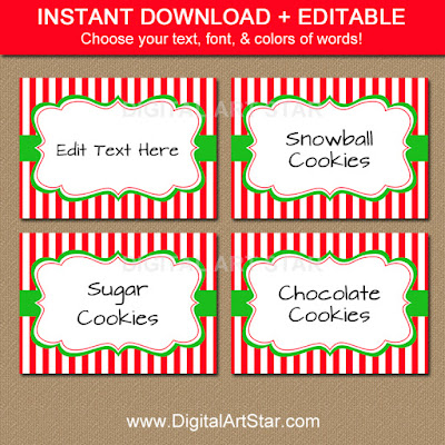 printable Christmas candy buffet labels with red & white stripes and editable text