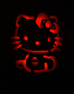 Hello Kitty carved jack o'lantern pumpkin