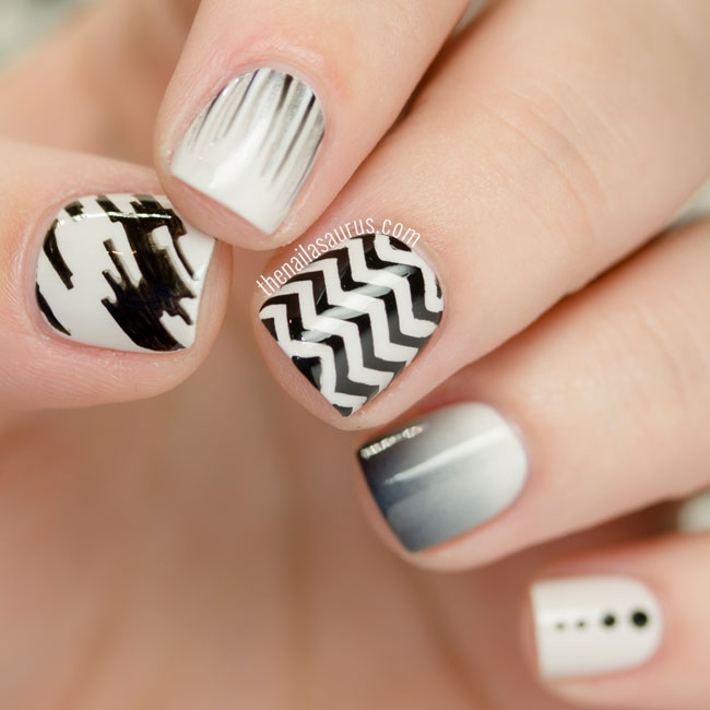 31DC2015: Black and White Nails with a Skittle