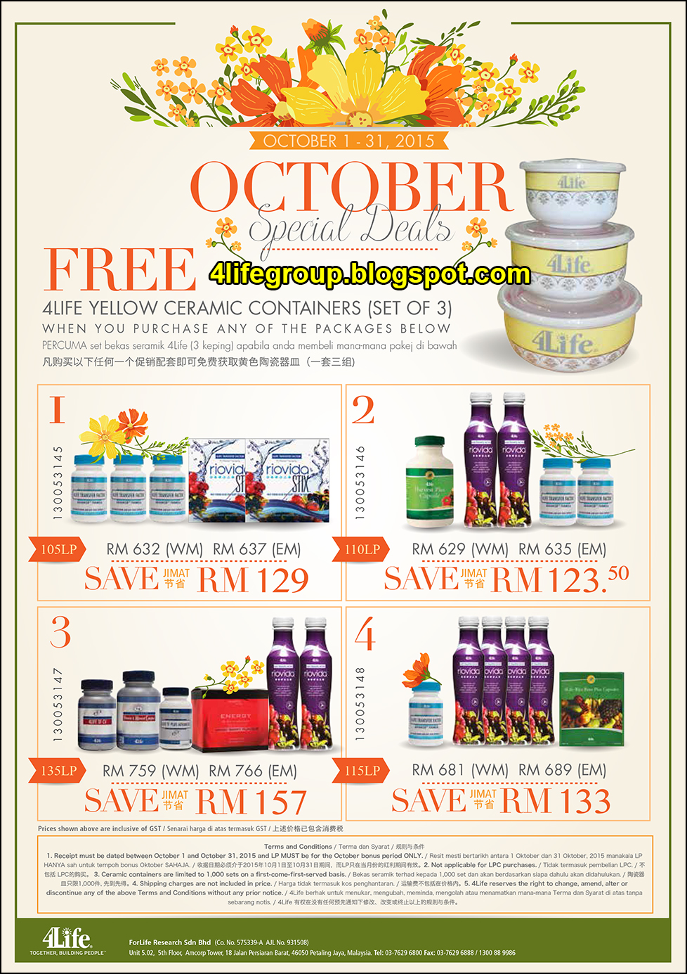 foto Pakej Promosi Oktober 2015 4Life Malaysia