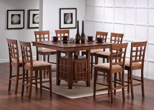 9pcs walnut counter height dining table set