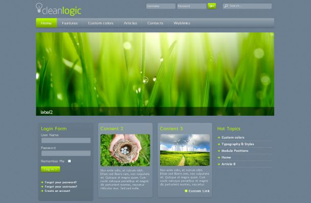 Free clean grey green ecology joomla template