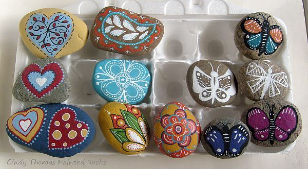 Painting rock stone animals nativity sets more for Pretty designs to paint