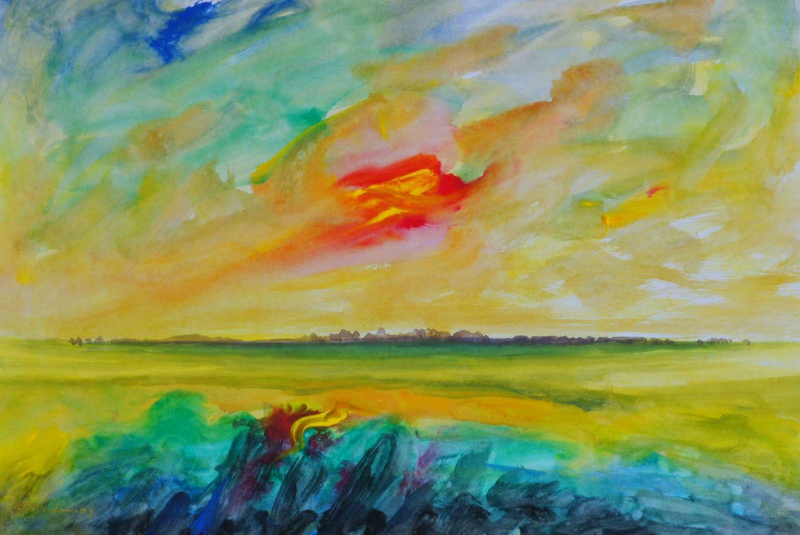 ชื่อภาพ &; landscape 2 &; เทคนิคสี acrylic