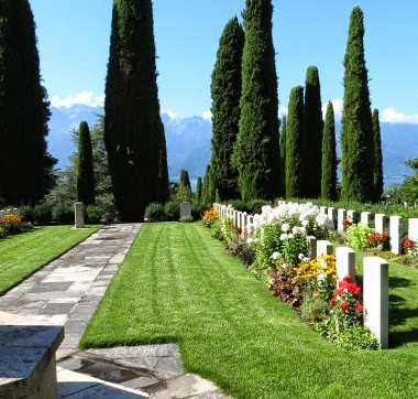 The view from the Commonwealth War Graves cemetery at Vevey St Martins church, Switzerland, taken by Victoria Oxberry, August 2013