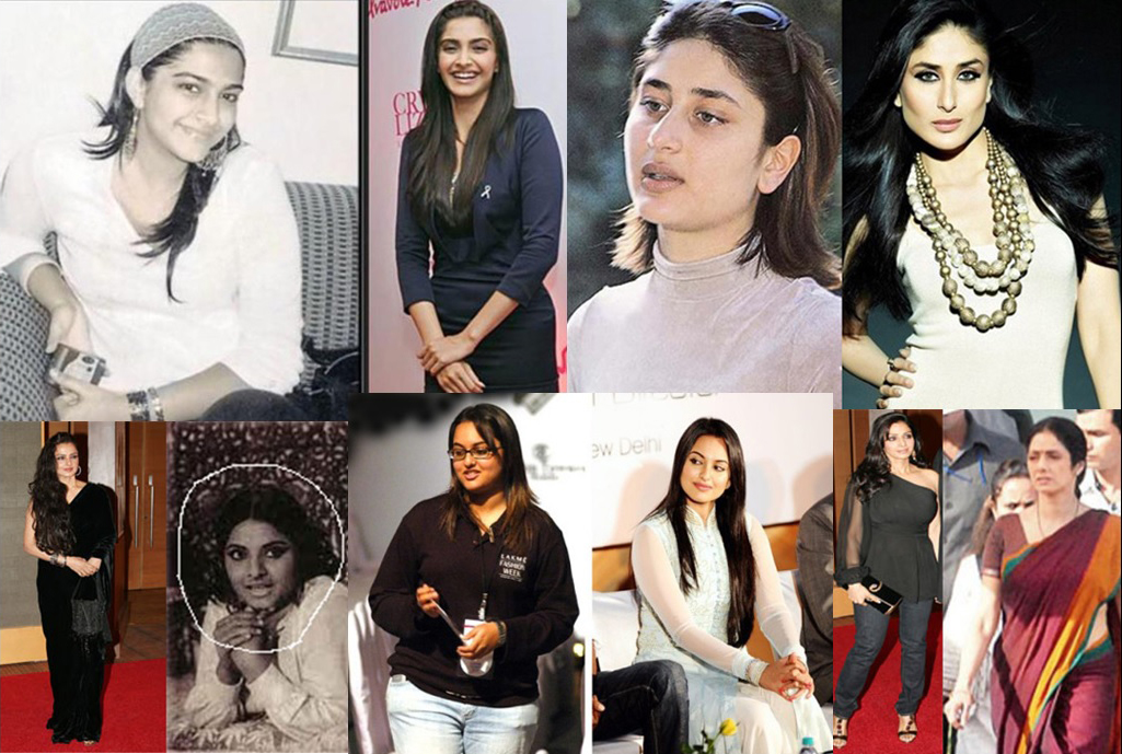 Kareena, Sonam, Rekha, Sridevi and Sonakshi Before and After.