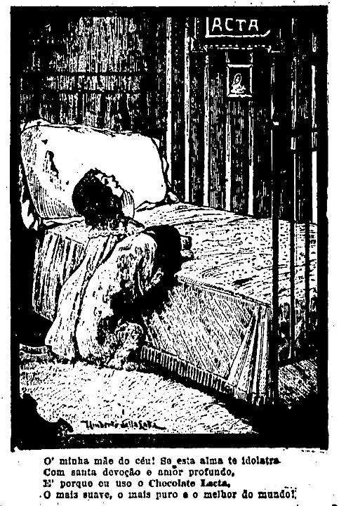 Propaganda do Chocolate Lacta em 1917 que mostram duas crianças em agradecimento por não faltar chocolate Lacta no dia-a-dia delas.