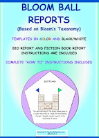 photo of Bloom Ball Reports, PDF, student ready to print worksheets, Ruth S. TeachersPayTeachers.com