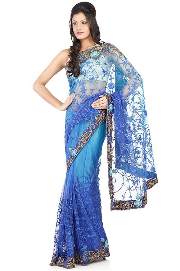Imperial Blue Net Saree new