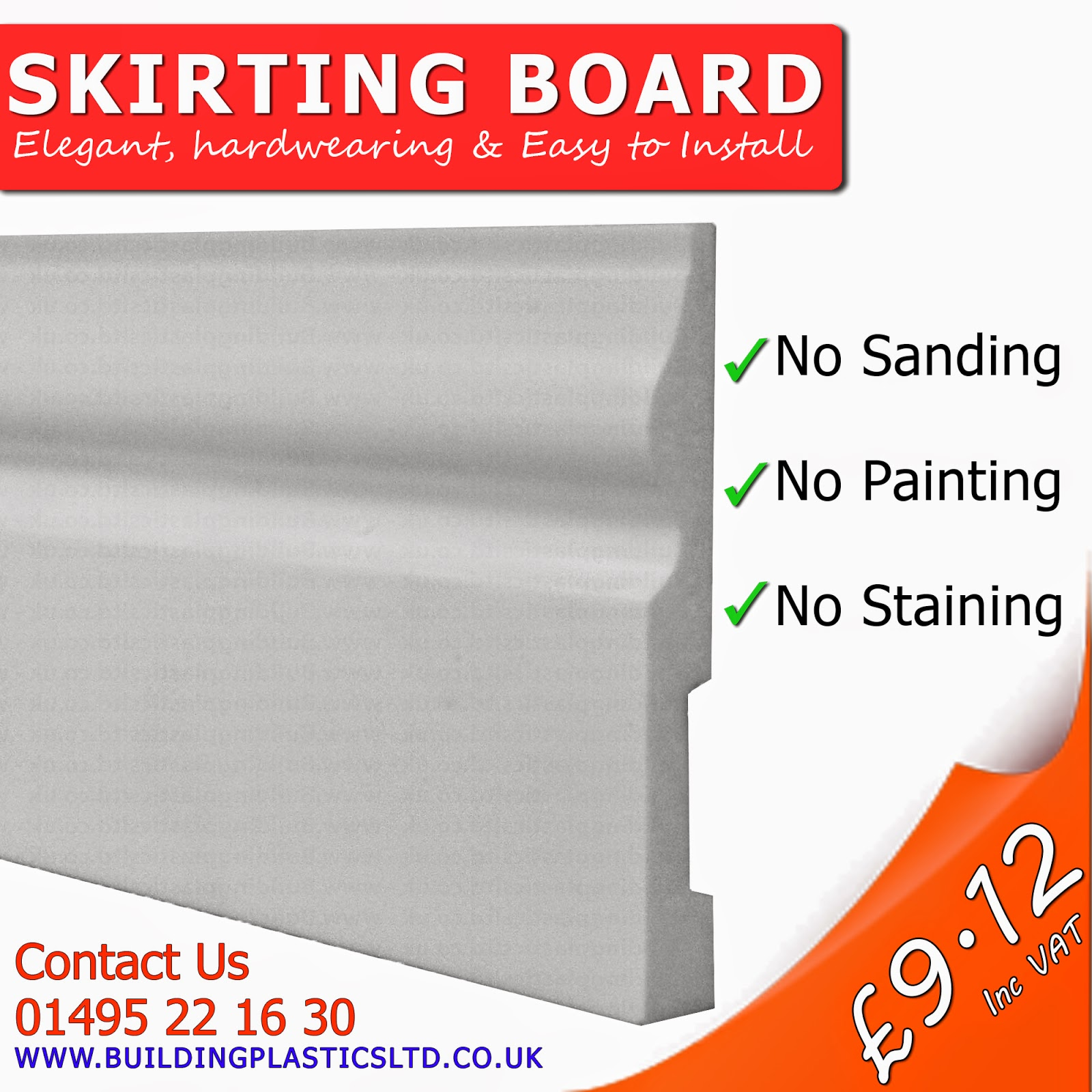 Plastic PVC Skirting board