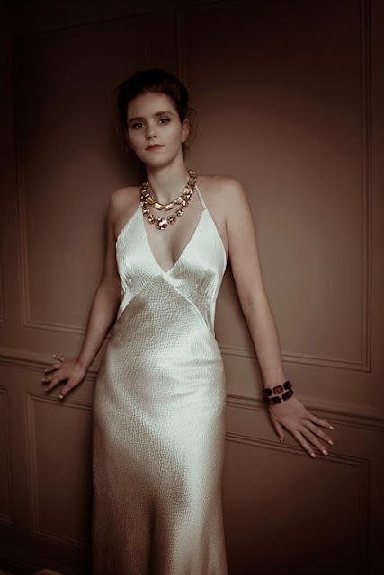 'STARLIGHT', an elegant and glamorous 1930s vintage wedding dress design in silk satin.